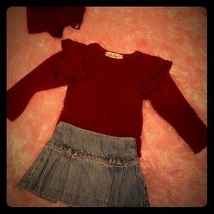Baby girl ruffled top & ruffle jean skirt set